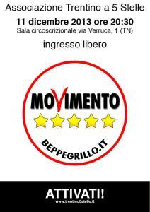 11 dicembre: Assemblea Associazione Trentino a 5 Stelle