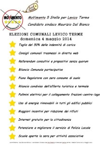 Programma M5S per elezioni comunali di Levico Terme