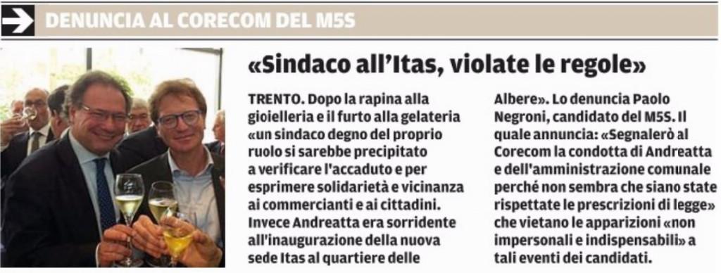 IlTrentino-20150430- Negroni segnalazione CORECOM contro Andreatta