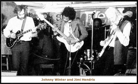 Steve Burgh with Jimi Hendrix and Johnny Winter