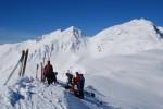 Sulla cima del Piz Cancan 2435 m, con l'anticima del Piz Cumbul 2800 m ca.