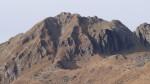 Monte Duria: rossa canalino di salita, verde traccia di discesa con segnavia.
