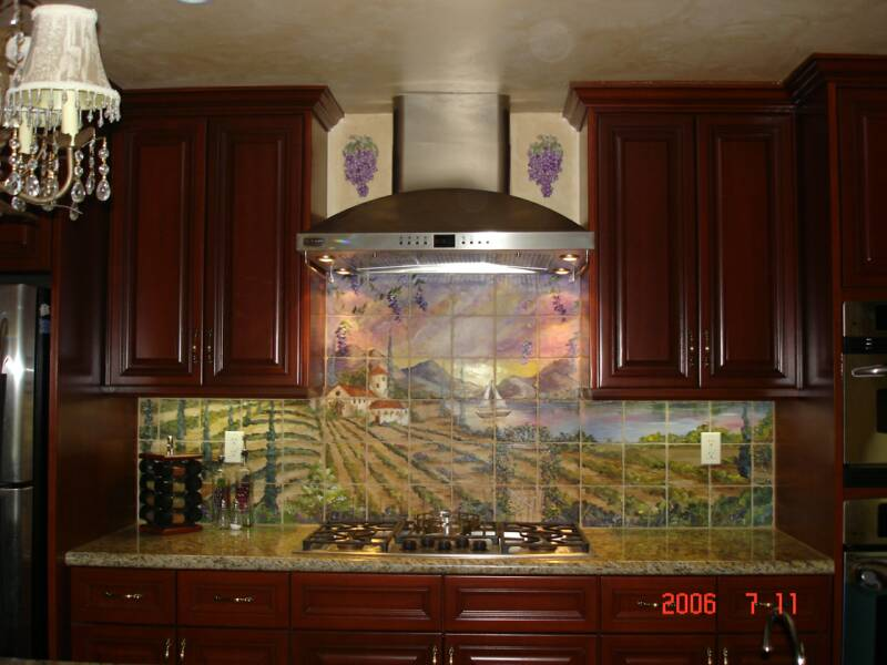 Tre Sorelle Hand Painted Tile Mural Installations