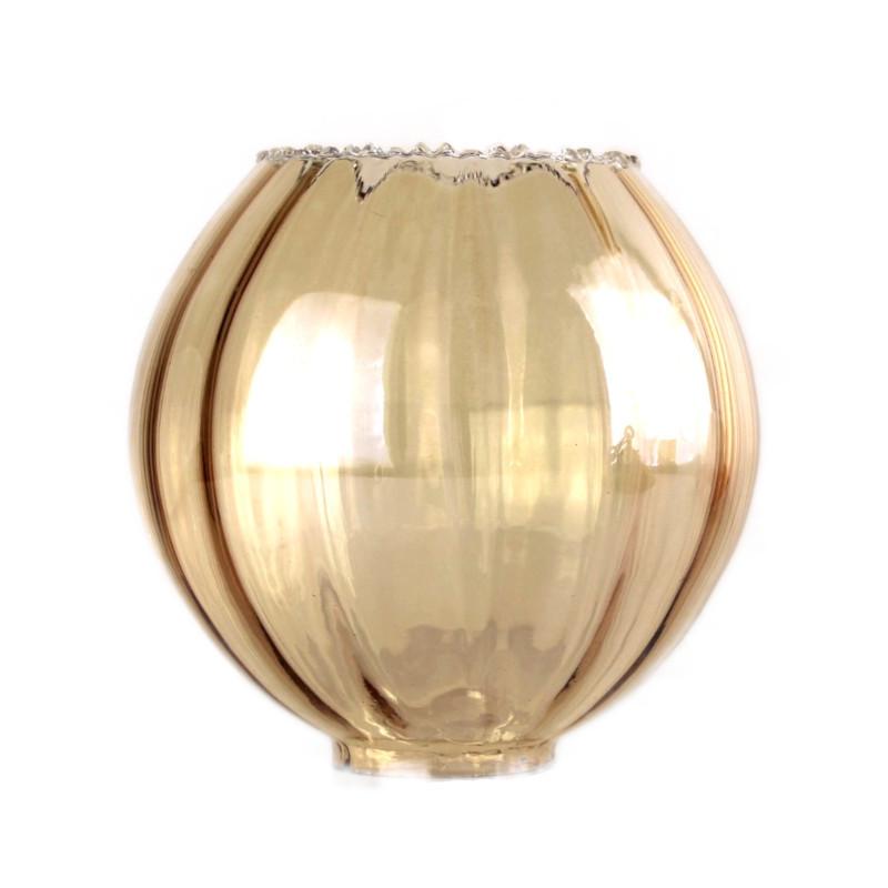 abat jour tulipe verre ambre lustre retro