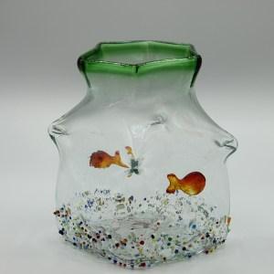 Aquarium Bocal Vert en verre soufflé bouche VA05