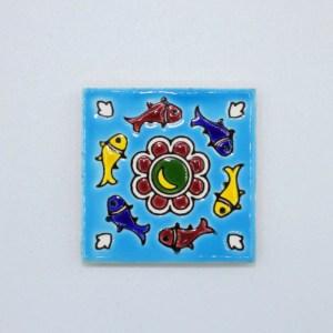 Carreau Aimant / Magnet Carré Motif Poisson en céramique CD71 fabriqué en iran
