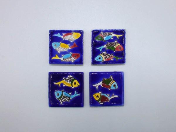 Petit Carreau Aimant / Magnet Carré Motif Poisson en céramique CD78 produit iranien