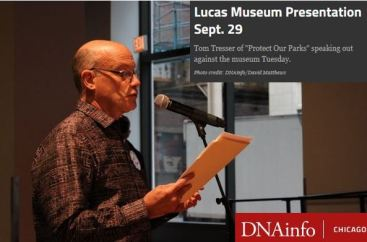 Tom at Lucas Museum hearing+text+logo