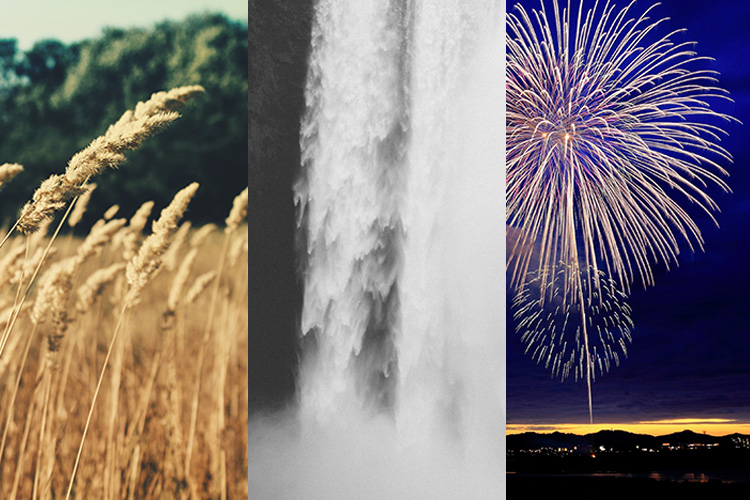 Field of Barley, Waterfall, and a sky full of fireworks to represent wind, water, and fire doshas in Ayurveda