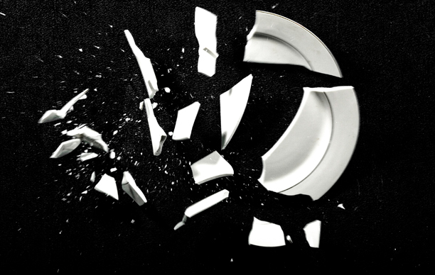 Broken Plate on Black Background