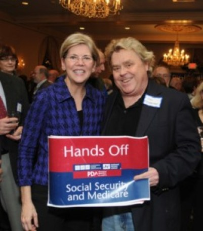 Warren, in 2011,  with PDA head Tim Carpenter - once a leader of Orange County Democratic Socialists of America
