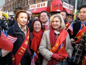 Nydia Velasquez, Margaret Chin, Carolyn Maloney, Chinese Communist flags, Lunar New Year Parade in Chinatown, 2011.Communist chinese flags, communist flags