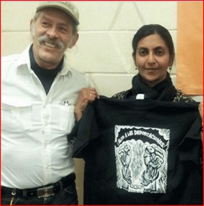 Jorge Mujica, Kshama Sawant, following an April 4 public meeting in Chicago