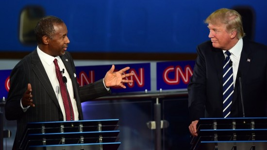 Donald Trump and Ben Carson during GOP Debate via NPR