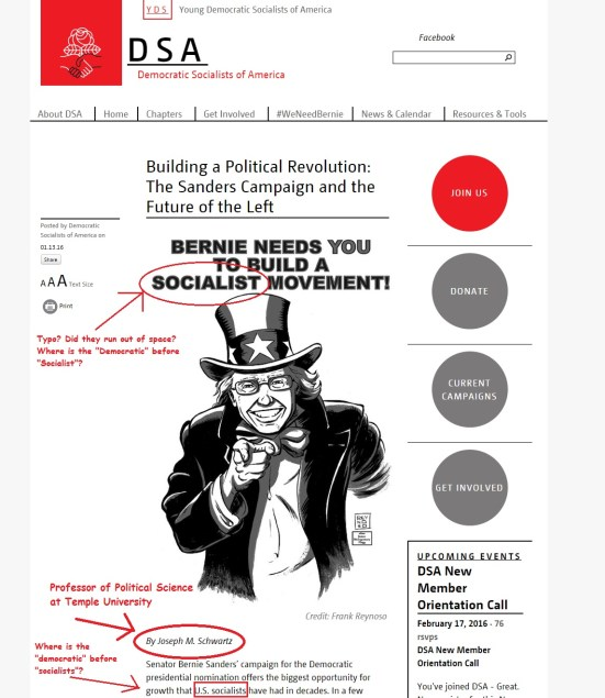 Screenshot at Democratic Socialists of America website retrieved Feb. 16, 2016