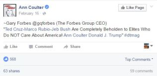 Ann Coulter post highlighting Gary Forbes