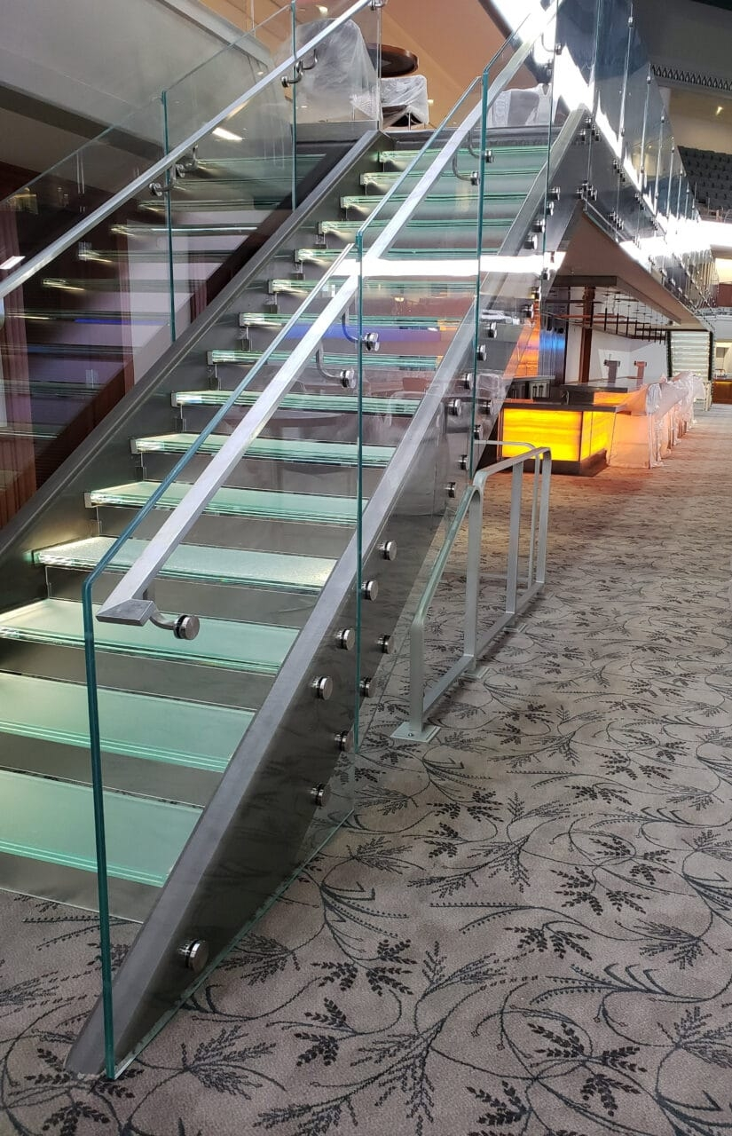 Fascia Node Mounted Glass Railing Trex Commercial Products | Stair Railing Glass Panel | Tempered Glass | Wood | Stainless Steel Railing Systems | Base Shoe | Aluminum