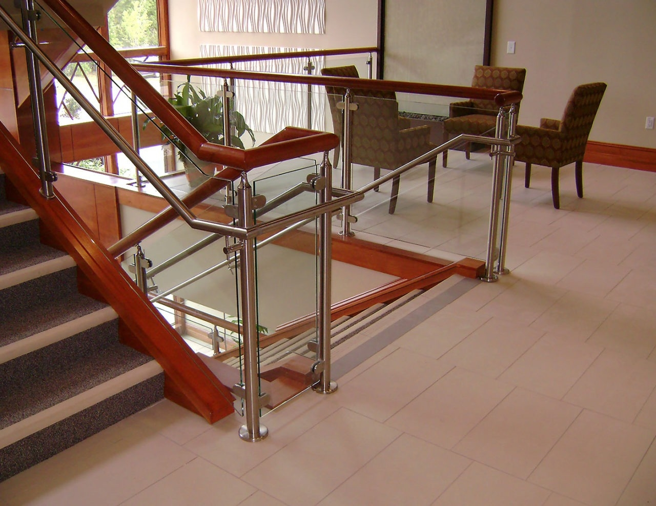 Monaco Post Supported Glass Railing Trex Commercial Products | Wood And Steel Handrail | Outdoor | Column | Stainless Steel | Balustrade | Ultra Modern Steel