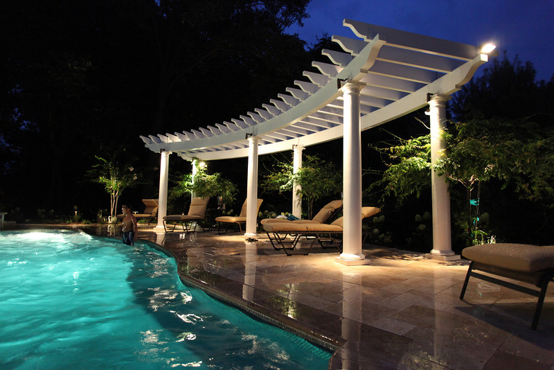 Custom Curved Trex Pergola Kit Poolside New Jersey
