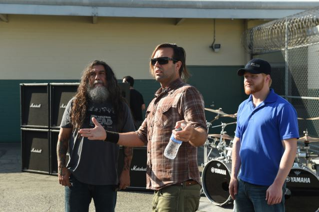 """Slayer shoots music video for new track """"Repentless.""""  Shot on August 26, 2015 at the Sybil Brand Institute in Los Angeles LEFT TO RIGHT:  Slayer's Tom Araya, video director BJ McDonnell, First Assistant Director Justin M. Hopper"""