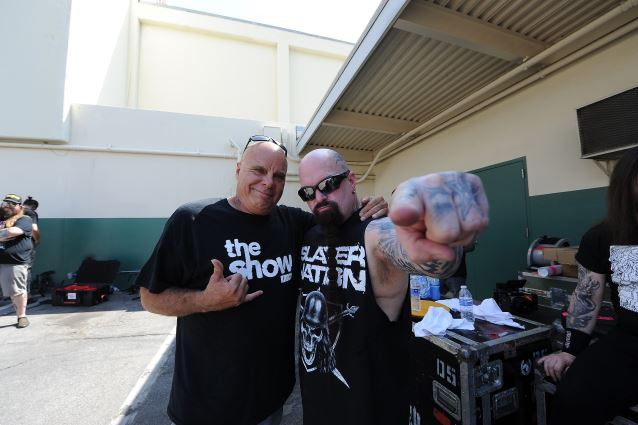 """Slayer's Kerry King (right) is pictured with actor Tony Moran who played a convict in Slayer's new music video """"Repentless.""""  The video was shot at the Sybil Brand Institute in Los Angeles on August 26, 2015."""
