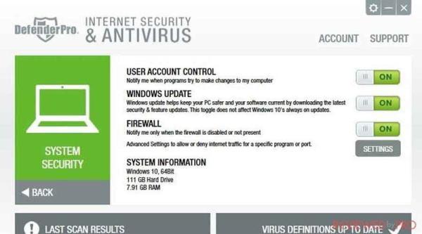 Defender Pro interface2 Antivirusni programi