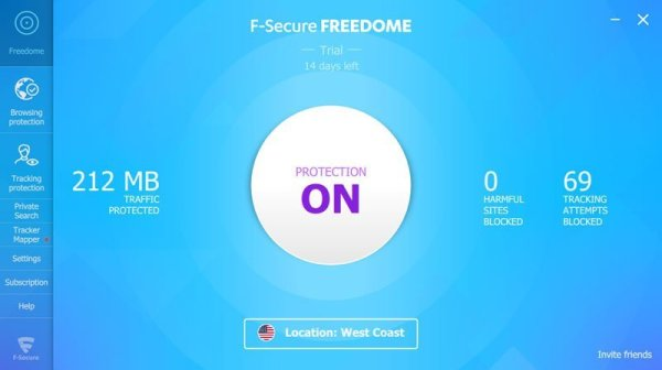 F Secure Freefome interface Antivirusni programi
