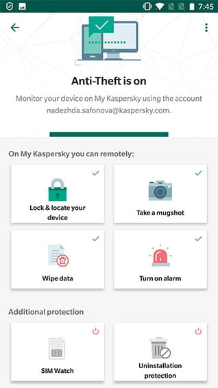 Kapersky Secure Connection interface Antivirusni programi