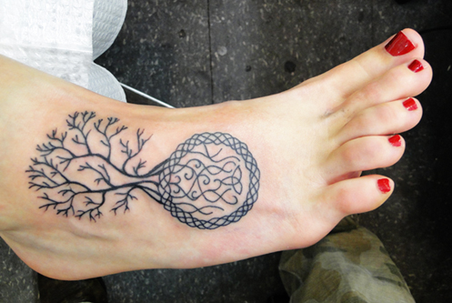 Tree of Life Tattoo on a foot, cool