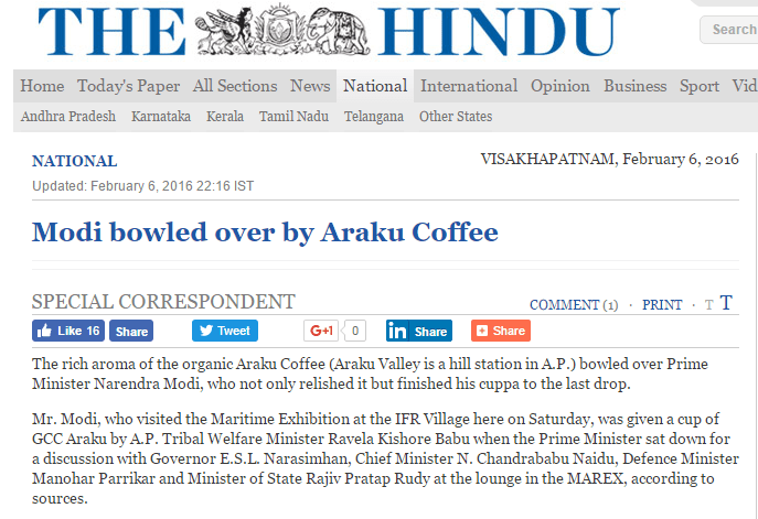 Wah! Araku Coffee: Modi