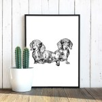 two-dachshund-puppies-line-poster