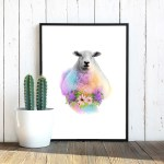 watercolor-floral-sheep-poster