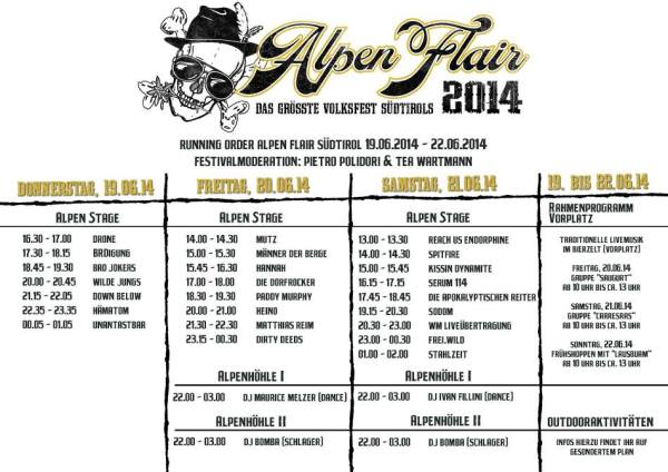 running order alpen flair 2014-tribe-online