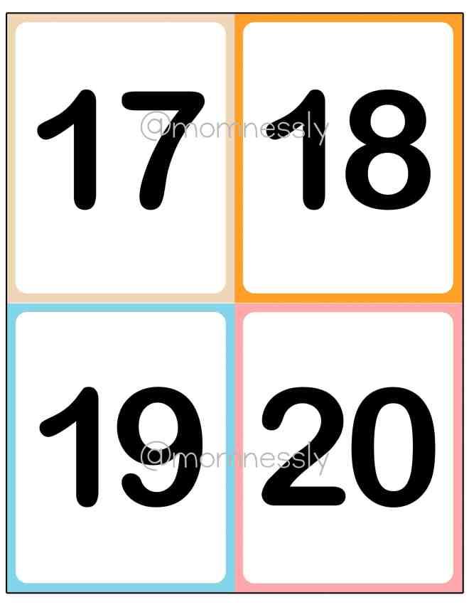 Free Printable: Numbers 1-20 Flashcards