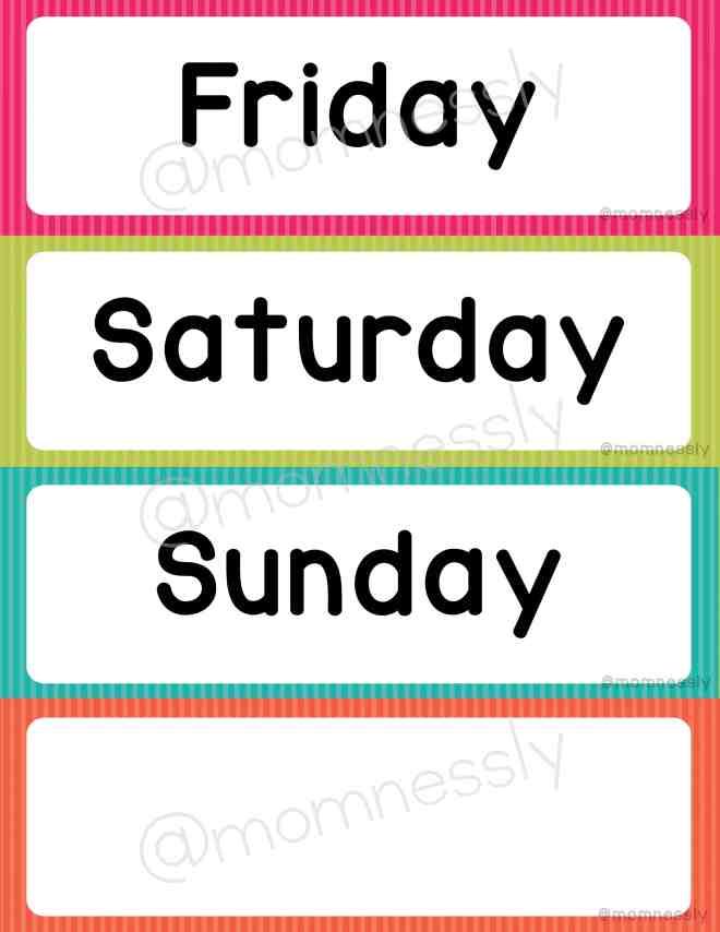 Free Printable: Days of the Week