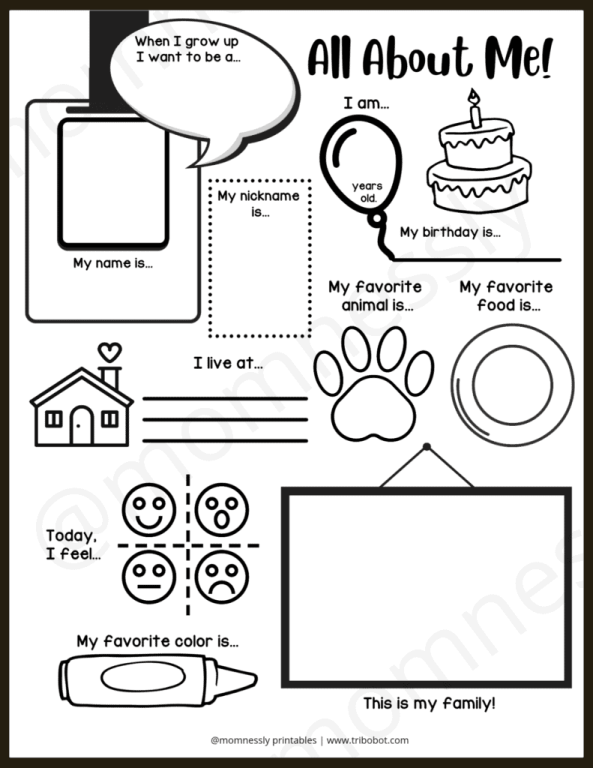 Free Printable: All About Me