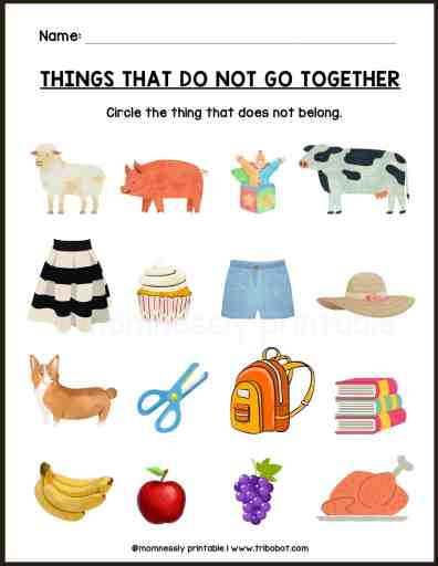 Free Printable: Things that do & do not go together Worksheet Mom Nessly