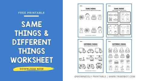 Free Printable: Same and Different Things Worksheets MomNessly