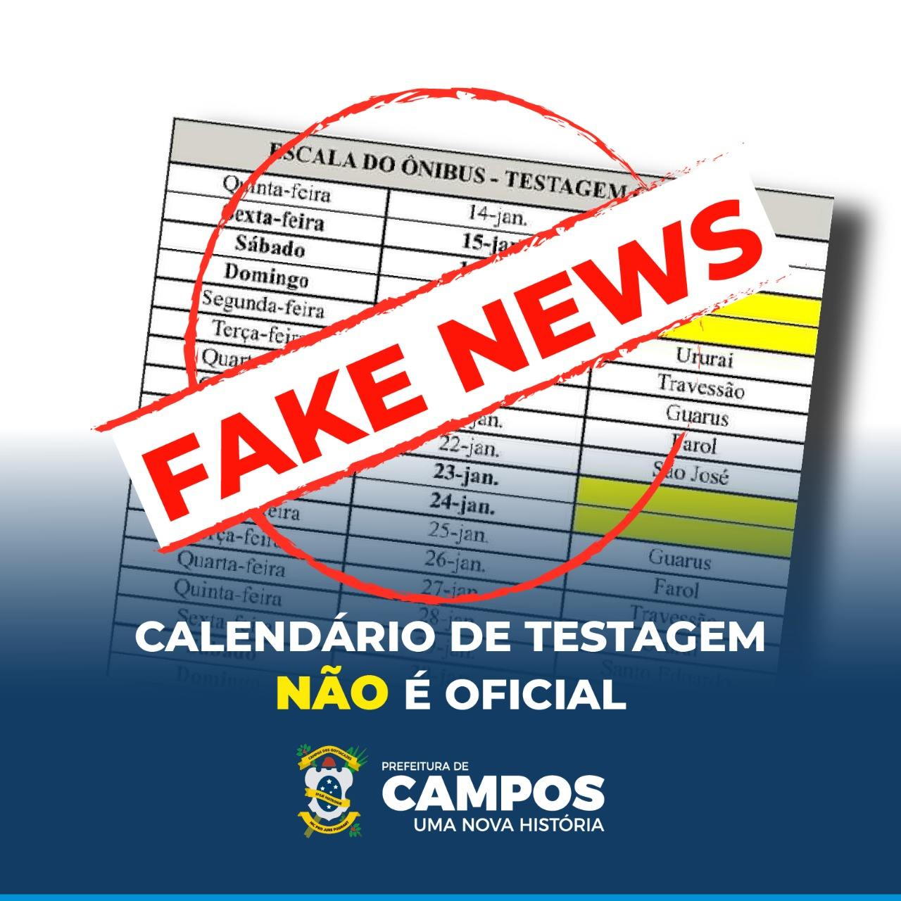 Covid-19: Prefeitura de Campos alerta para fake news sobre calendário do ônibus de testagem