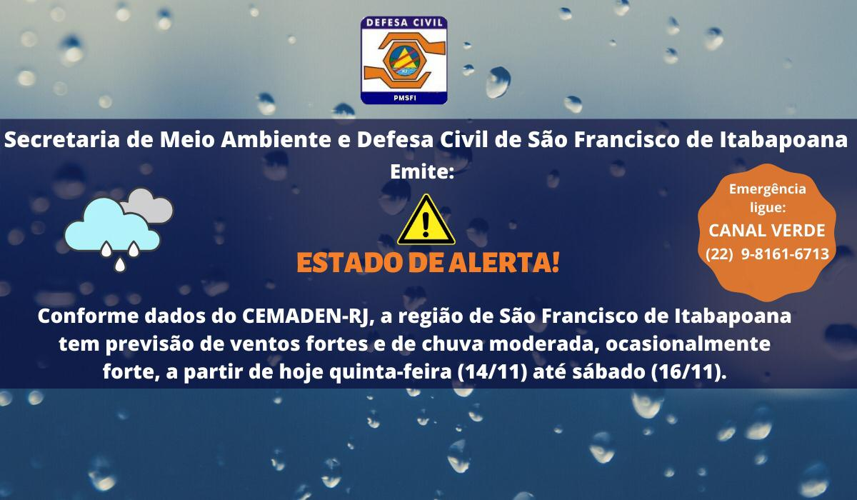 Alerta de chuva e ventos fortes no final de semana em SFI