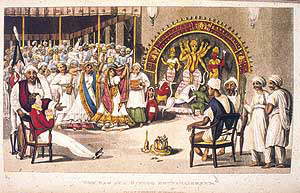 A British cadet watching a nautch during the Puja festival, Calcutta. Painting by Sir Charles D'oyly, c. 1810
