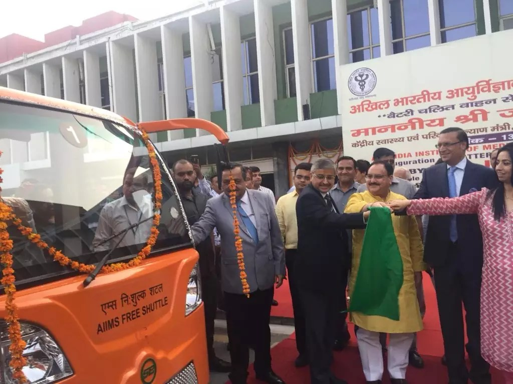 J P Nadda flags off the Battery Operated Bus services at AIIMS