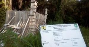 Kondisi lokasi Proyek Pamsimas di di Dusun Pasir Putih Desa Boncah Mahang, Kecamatan Bathin Solapan, Kabupaten Bengkalis.