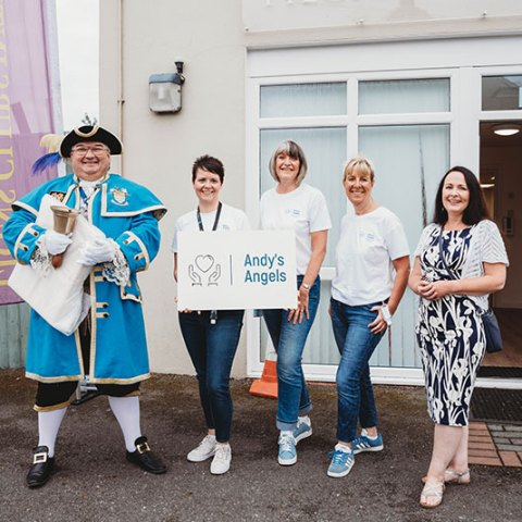 Andys Angels Grief Play Cafe opened in Worthing in September 2021. Tributes is sponsoring the charity and Marketing Director Susan Macmillan joined the team with Town Crier Bob Smytherman