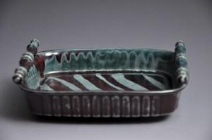 Teal and Brown Zebra Stripe Medium Tray
