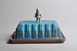 Handmade Porcelain Butter Dish | Turquoise and White Gnome | Tricia Ree McGuigan | Fine Art Functional Ceramics
