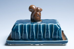 Sapphire Blue and Brown Squirrel Butter Dish