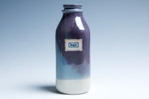 "Purple and Blue ""Hope"" Milk Bottle"