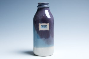 "Purple and Blue ""Hope"" Milk Bottle"
