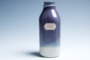 "Purple and Blue ""Love"" Milk Bottle"